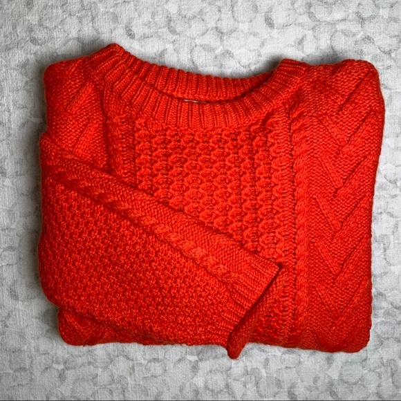 Madewell // Orange Cableknit Sweater Size Small
